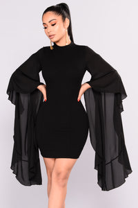 Talk With Your Hands Dress - Black Angle 1