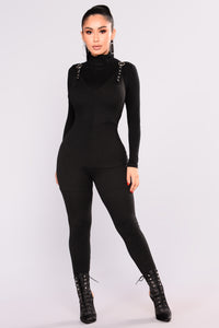 Super Sass Buckle Jumpsuit - Black Angle 2