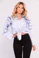 Ruffle And Bustle Top - Blue