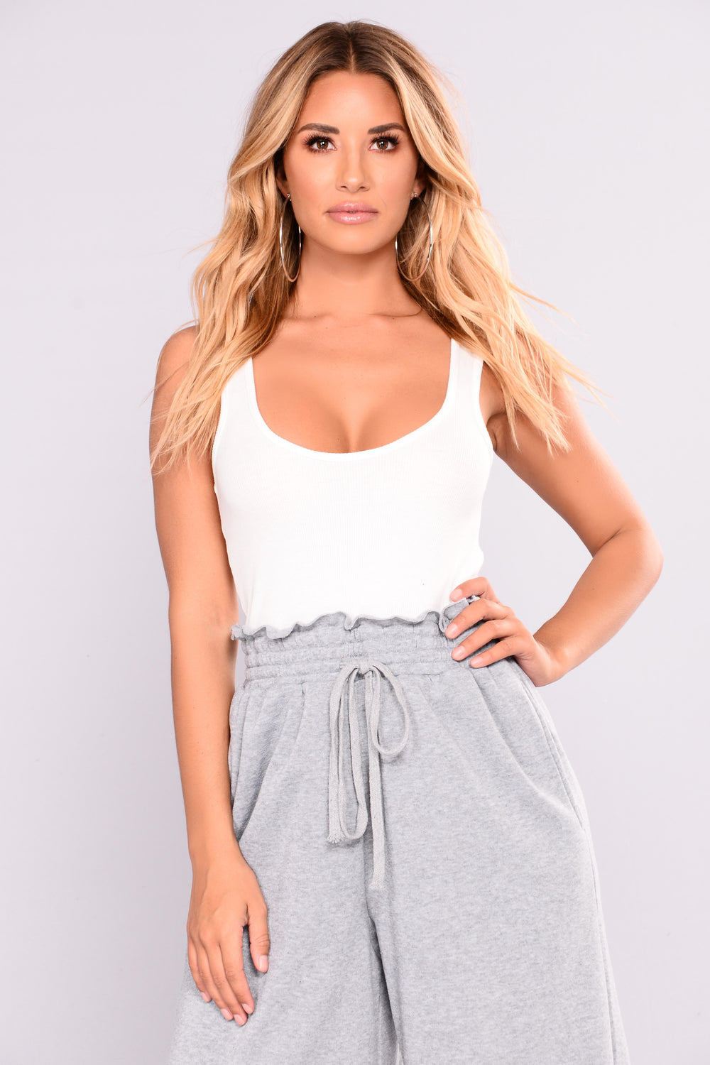 All Tied Together Jumpsuit - White/Grey