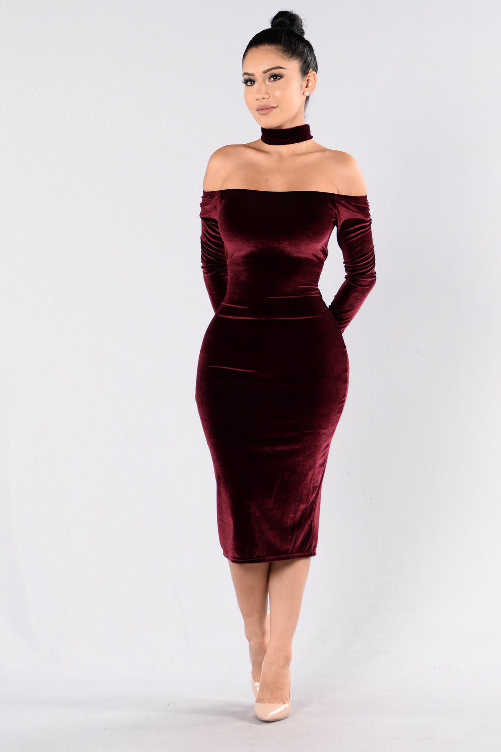The Other Side Dress Burgundy