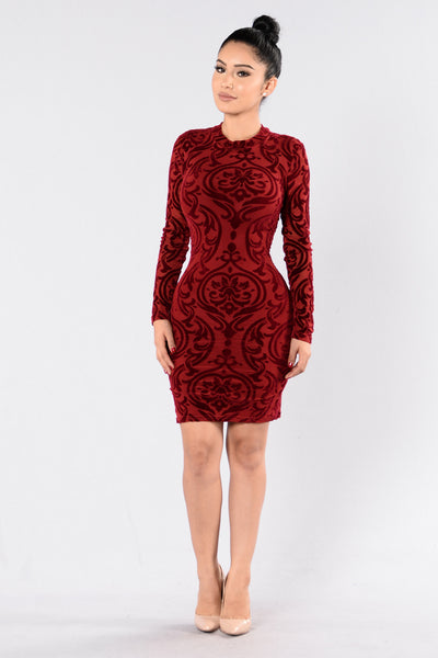 Over The Top Dress - Burgundy