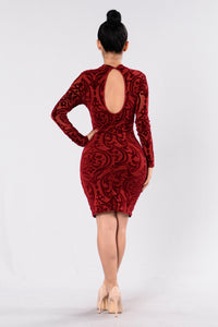 Over The Top Dress - Burgundy Angle 5