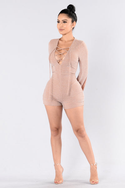 Down The Middle Romper - Mauve