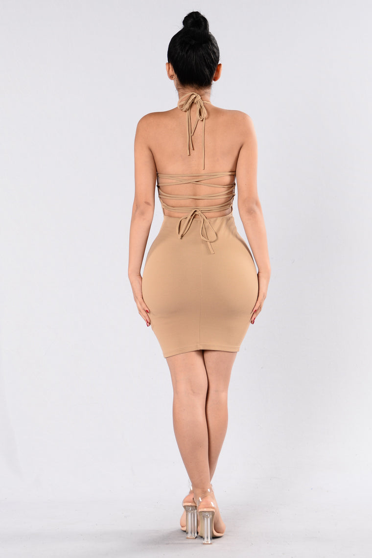 Don't Let Go Dress - Taupe