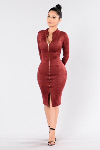 Zip Me Up Dress - Burgundy