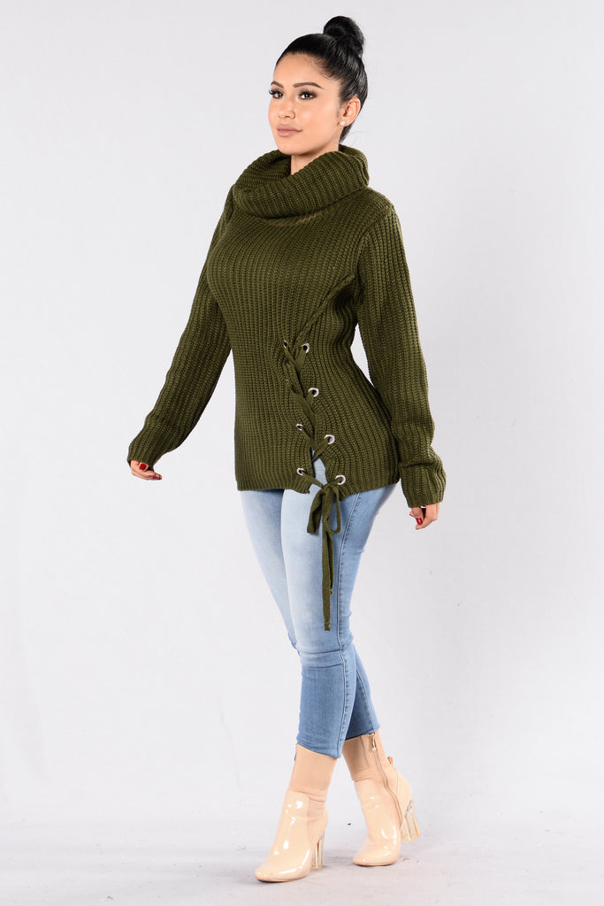 Tangled In Love Sweater - Olive