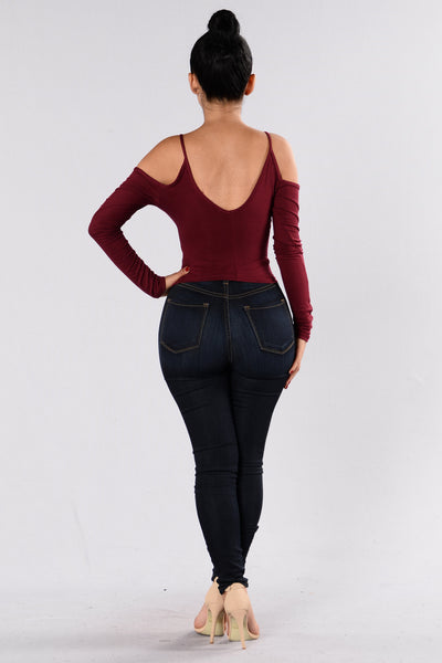 Half Of Me Top - Burgundy