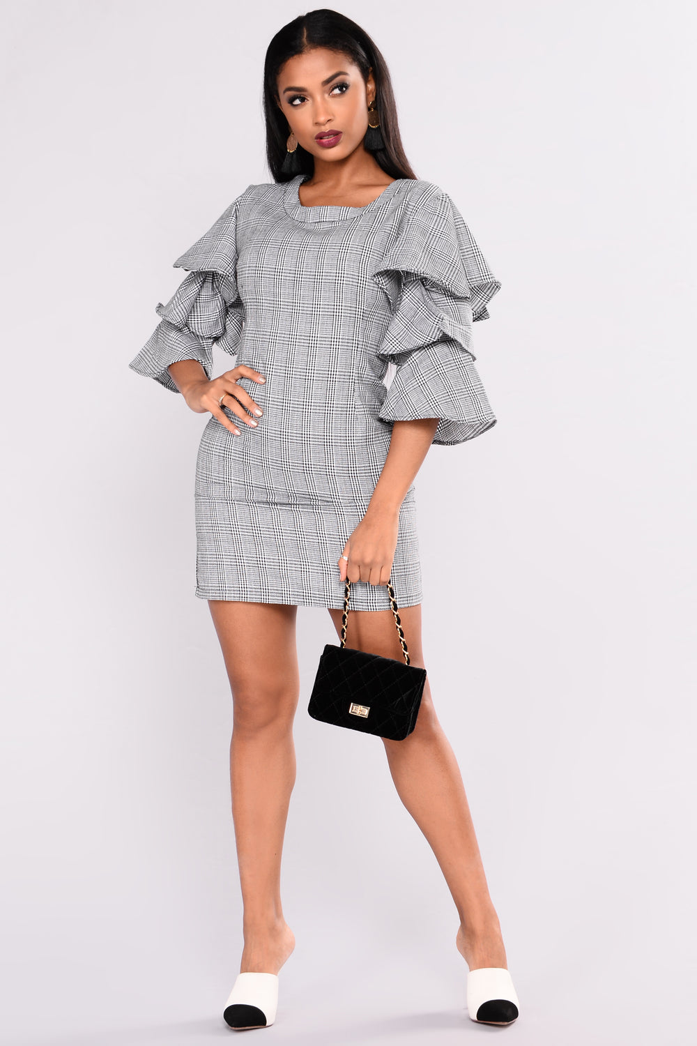 Life Calling Houndstooth Dress - Black/White