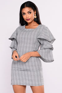 Life Calling Houndstooth Dress - Black/White Angle 6