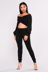 Forget Me Not Crop Top - Black Angle 2