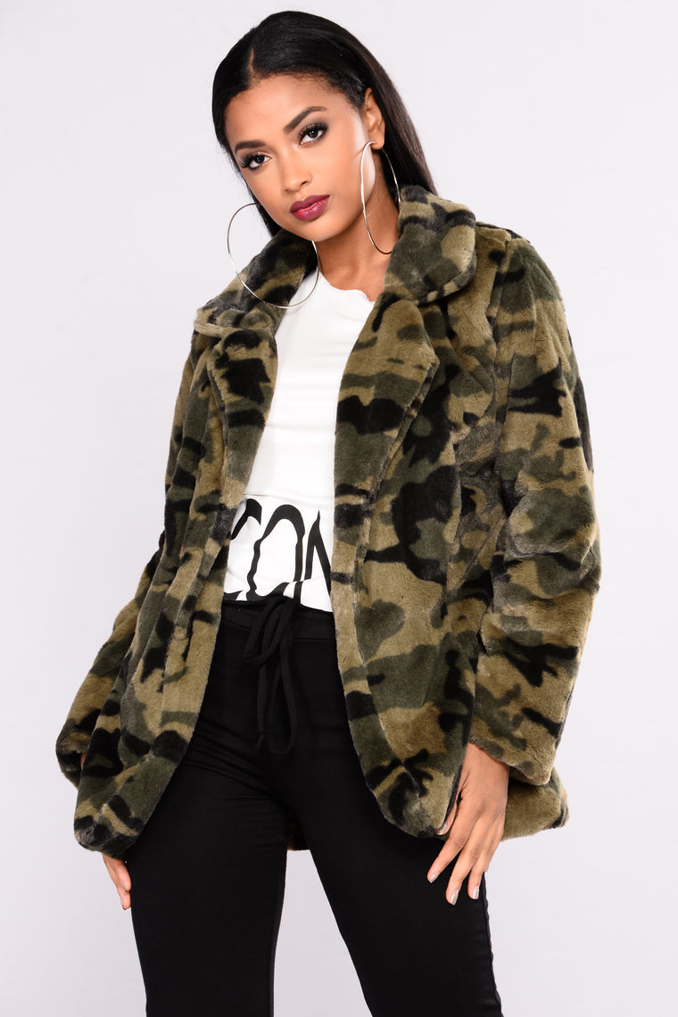 Cause I'm Cozy Faux Fur Jacket - Olive