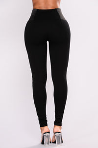 Dahlia Faux Leather Ponte Leggings - Black Angle 5
