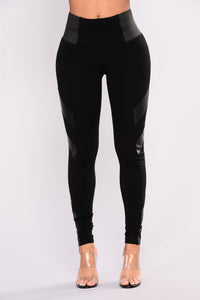 Dahlia Faux Leather Ponte Leggings - Black Angle 1