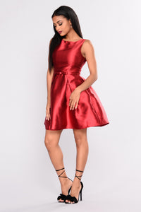 A Satin Holiday Dress - Red