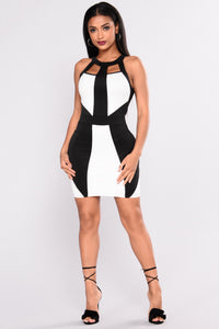 Blocked Out Mini Dress - Black/White