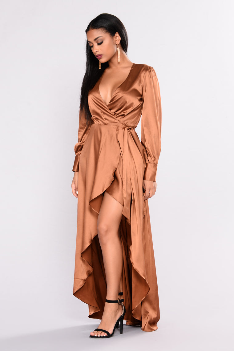 Sulty Vixen Satin Wrap Dress - Brown