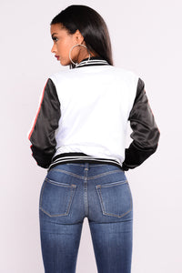 Keeping It Real Bomber Jacket - White/Black