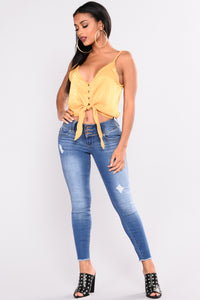 Carina Satin Top - Mustard