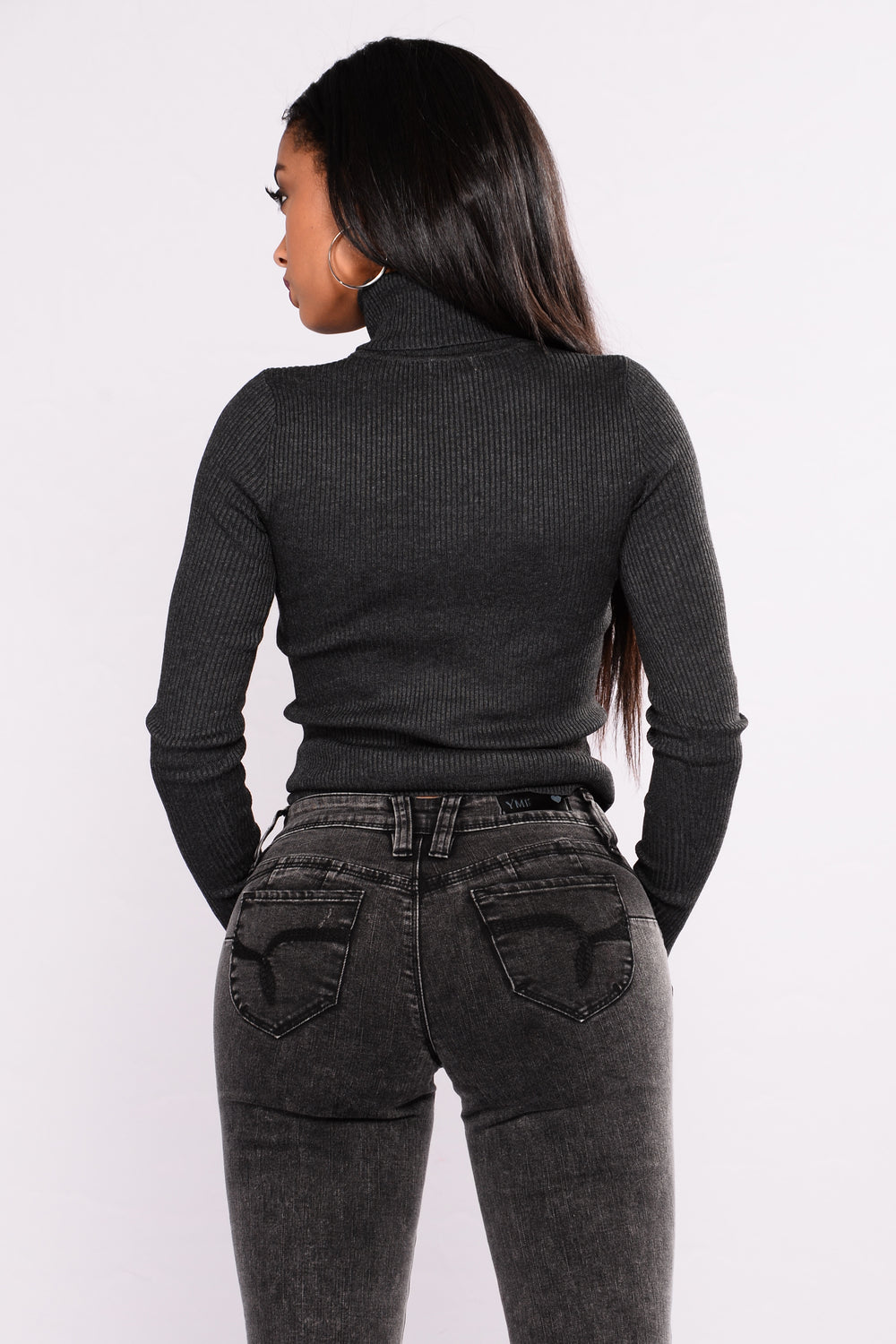 Tara Turtle Neck Sweater - Charcoal