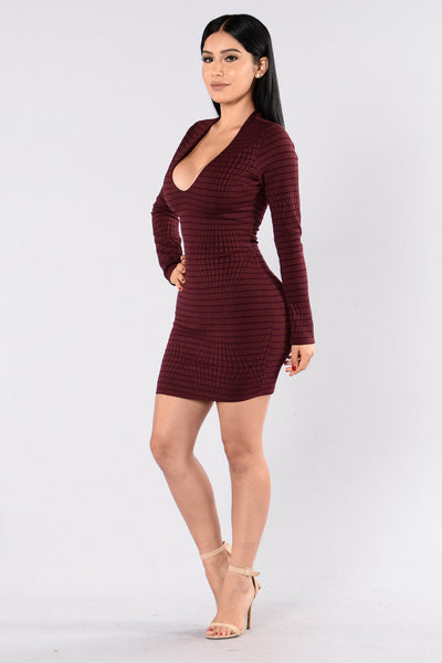 Can't Live Without Me Dress - Wine