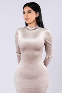 Velvet Cupcake Dress - Taupe