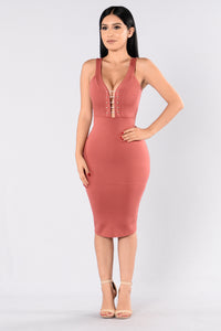Pins For The Win Dress - Marsala