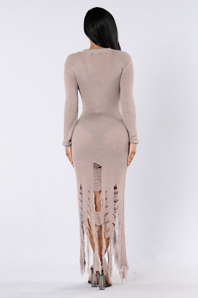 Finally Famous Dress - Taupe