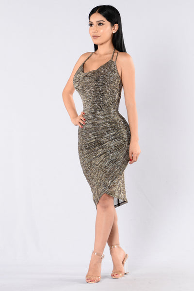 Hot Stuff Dress - Gold