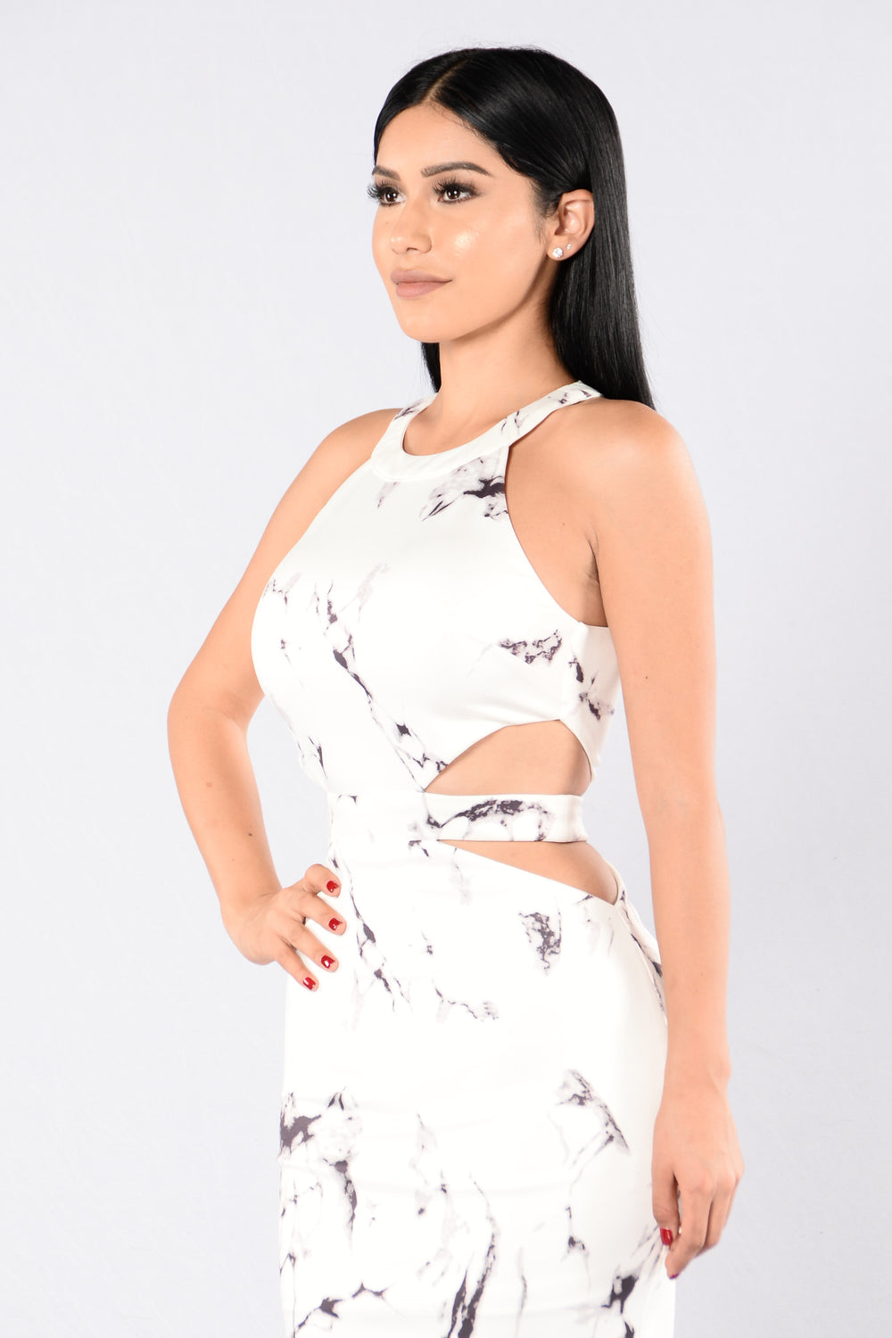 Smooth Like Marble Dress - White