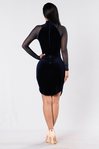 Hepburn Vibes Dress - Navy