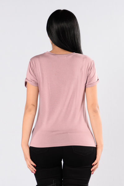 What's The Scoop Tee - Mauve