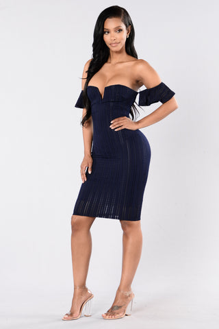 Out Of Mind Dress - Navy