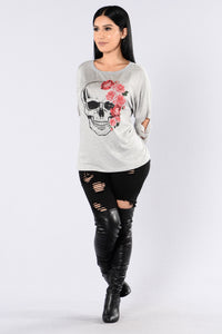 Kiss Of Death Top - Grey Angle 5