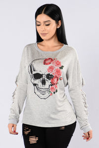 Kiss Of Death Top - Grey Angle 1