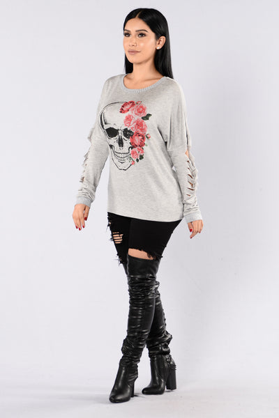 Kiss Of Death Top - Grey