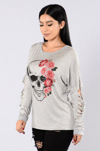 Kiss Of Death Top - Grey Angle 4