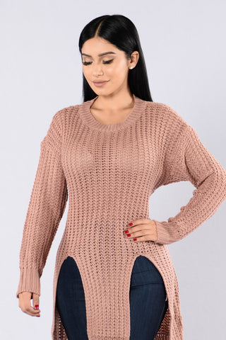 Causing A Commotion Sweater - Mauve