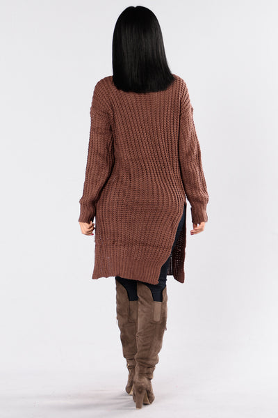 Causing A Commotion Sweater - Red Brown