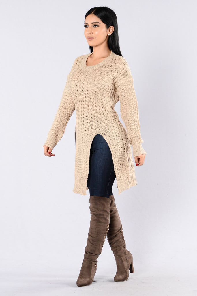 Causing A Commotion Sweater - Taupe