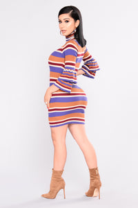 Southern Belle Striped Dress - Camel