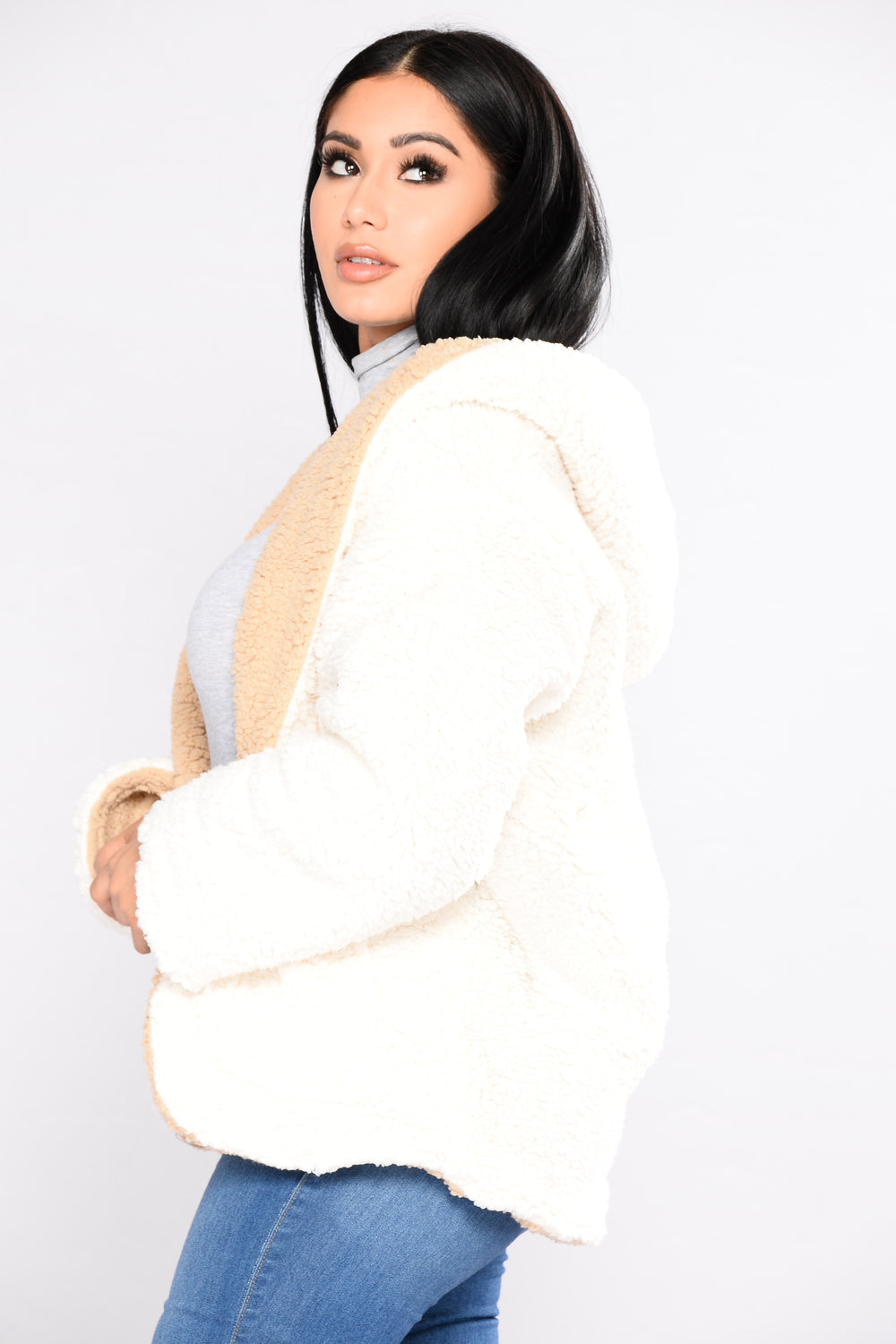 Sky Fall Faux Fur Jacket - Ivory/Taupe