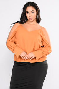 Natesa Cold Shoulder Top - Amber