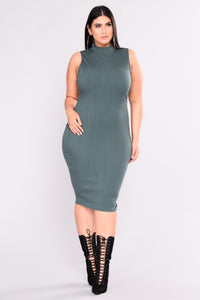 Need Somebody Ribbed Dress - Hunter