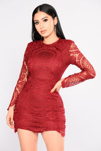 Wish You Would Crochet Dress - Burgundy