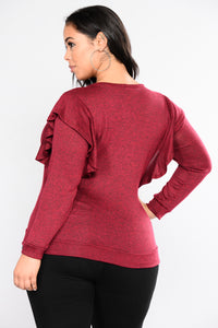 Ra Ra Ruffle Top - Burgundy
