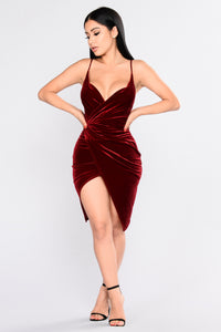 Velvet Slip Surprise Dress - Ruby