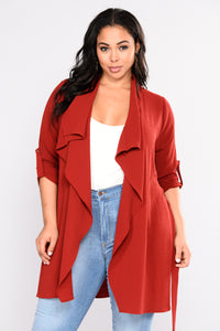 Attraction Duster Jacket - Burgundy
