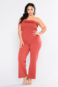 You're My Destiny Ruffle Jumpsuit - Marsala