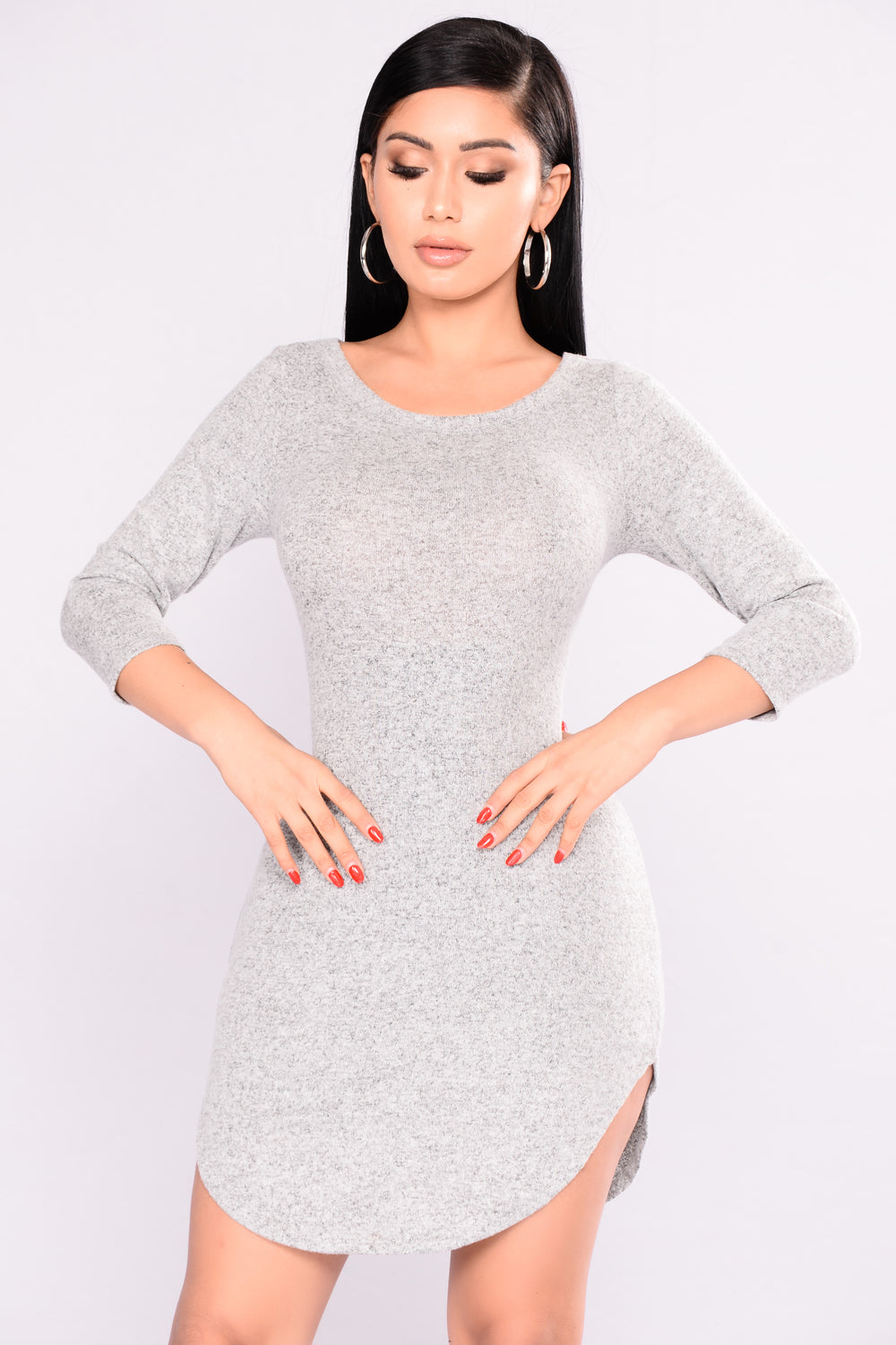 Emmaline Sweater Dress - Heather Grey